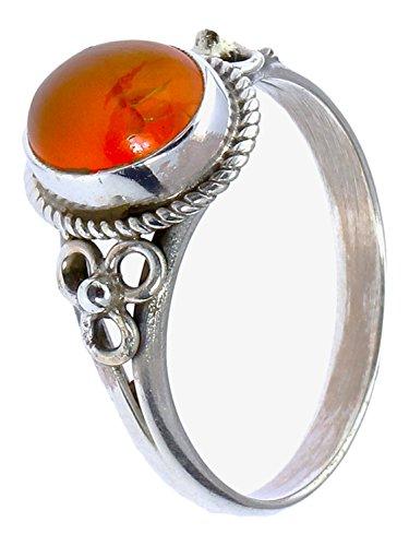 Chic-Net zilveren ringen Carneol touwrand bloem drie cirkels ovaal 925 sterling zilver ringen sieraden 58 (18,5)