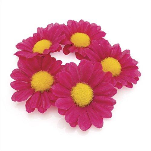 Flower Bun Garland Floral Hair Top Head Knot Scrunchie Band Elastic Bridal in Fuschia Pink