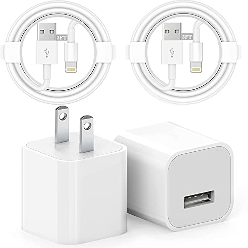 iPhone Charger,2 Pack (MFi Certified) Lighting Cable Fast Charging Cord (3Ft),2 Pack USB Wall Charger Plug,High Speed Data Sync Phone Compatible with iPhone,iPad