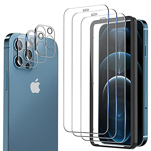 omitium 6 Pack Protector Pantalla Compatible con iPhone 12 Pro, 3 Pack Cristal Templado y 3 Pack Protector de Lente de Cámara, Marco de Alineación Incluido Sin Burbujas 9H Dureza Vidrio Templado