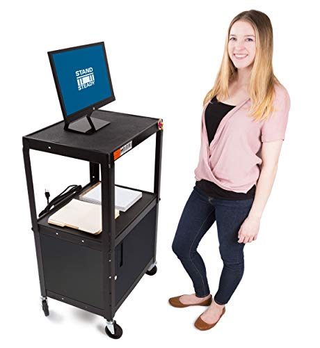 Line Leader AV Cart w/Locking Cabinet - Height Adjustable Utility Cart - Includes Power Strip and Cord Management - Great for Offices, Classrooms, Libraries and More (Black / 24 x 18)