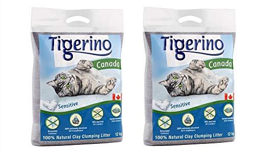 Tigerino Paquete doble de arena para gatos Canadá, Sensitive (sin perfume) 2 x 12 kg