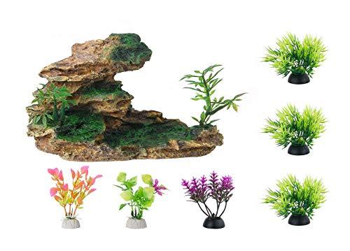 HITOP Aquarium Mountain View Stone Ornament, Moss Tree Rock Cave Landscape Artificial Fish Tank Decoration, with 6pcs small Plants (Brown)