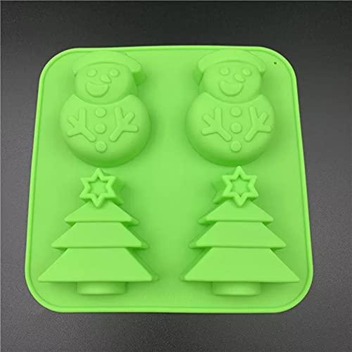 ZPZZPY 4 Incluso Navidad muñeco de Nieve árbol de Navidad Molde de Pastel de Silicona DIY Molde de pudín de gelatina moldes Hechos a Mano máquina de Hielo Herramientas para Hornear