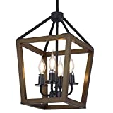 Farmhouse Chandelier 4-Light Rustic Lantern Pendant Light with Imitation Wood and Iron Finish, Adjustable Height Wood Hanging Lighting Fixtures for Dining Room Kitchen Island Foyer Entryway Hallway