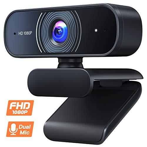 Roffie 1080P Webcam mit geräuschunterdrückendem Mikrofon, USB 2.0 Plug and Play, Full HD PC Webkamera für Videoanrufe, Studieren, Konferenzen, Aufzeichnen, Skype