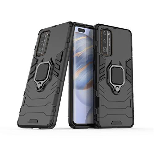 LuluMain Compatible con Honor 30 Pro Funda, Anillo Metálico Sujeción Soporte Antichoque Caja (Funciona con el Montaje de Coche Magnético) Doble Capa Case Carcasa para Huawei Honor30 Pro (Negro)