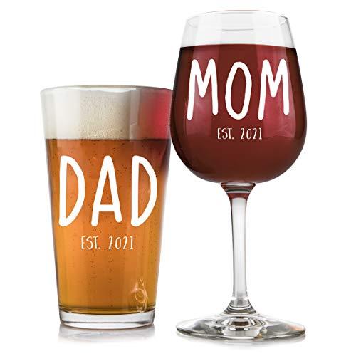 New Parents Pregnancy Announcement 16 oz. Pint Glass, 12.75 oz. Wine Glass Set - Unique Christmas...