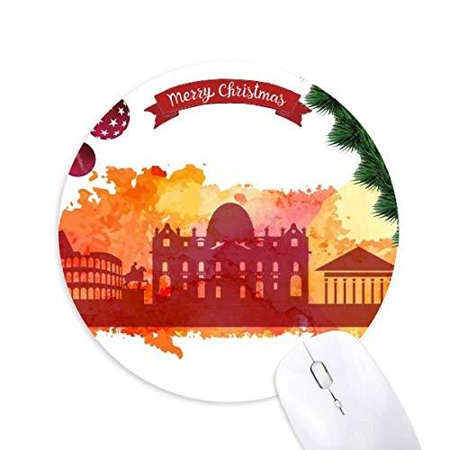 Rom Italien Gelbe Wasserfarbe Rundgummi Pad Weihnachtsbaum Mat