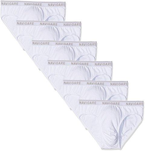 Navigare 6 Slip Uomo Cotone Elasticizzato Elastico Esterno Bianco O Colorati ASRT. 574/E (6/XL, Bianco)