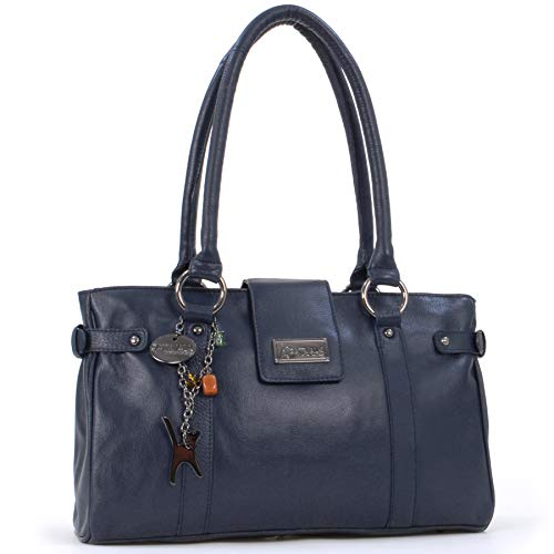 Catwalk Collection Handbags - Leder - Umhängetasche/Handtasche/Schultertasche - MARTINA - Marine Blau