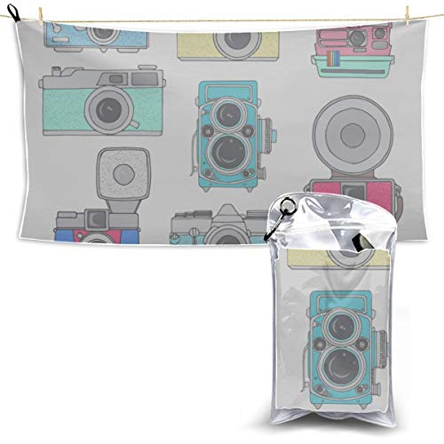 Gednix Camera Photography Fashion Style Dry Sports Towel Camping Microfiber Towels Travel Shower Towel Microfiber Towels for Body 27.5'' X 51''(70 X 130cm) Best for Gym Travel Camp Yoga Fitnes