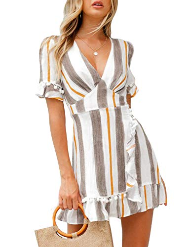 Simplee Women Summer A Line Deep V Neck Strip Print Cocktail Dresses,Stripe Gray,10, Stripe Gray, 10