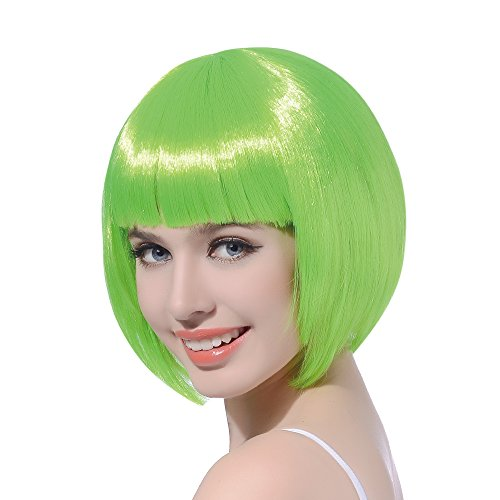 Green Short Bob Cosplay Flapper Wig-Synthetic Costume Party Women's Natural Looking St. Patrick's Day Carnival Halloween Christmas Bangs Wigs