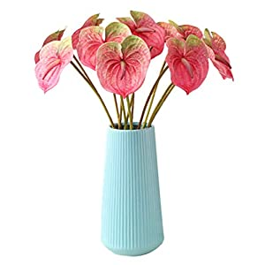 Tanshine Artificial Flowers 6 Pcs Fake Anthurium Flower 22.4 Inch for Home Decoration Bridal Wedding Festival Decoration Deep Pink-Small