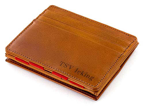 Jaimie Jacobs ® Portafoglio Magico con Incisione, Magic Wallet Flap Boy - l'Originale - Protezione RFID, Portafoglio Uomo con scompartimento per monete, Porta Carte di Credito Slim (Cognac e rosso)