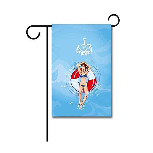 Yard Flags, Leuke Meisje Dressing Bikini Drijvend op een Lifebuoy in een Zwembad Tuin Vlag 30 X 45 CM