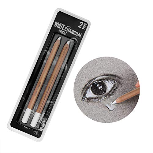 2 Pack General Sketch Pencil Charcoal White Pencils White Highlight Pen Drawing and Sketching Pencil Art Supplies Charcoal Stick Wooden White Pencils for Artist and Beginner Art Projects