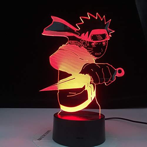 Creativo 3D Anime japonés Naruto Uzumaki Naruto Luz de noche LED El mejor regalo para niños