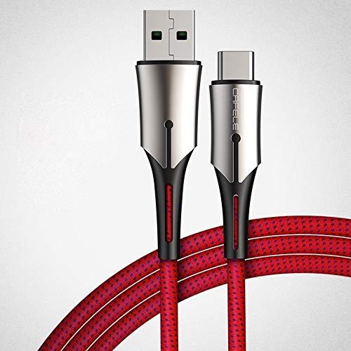 Esishang. HH-Tipo 5A-C/C-USB del Metal de la Pluma de la Serie Kirsite Cable de Carga de Datos, Longitud: 1m (Negro) (Color : Red)