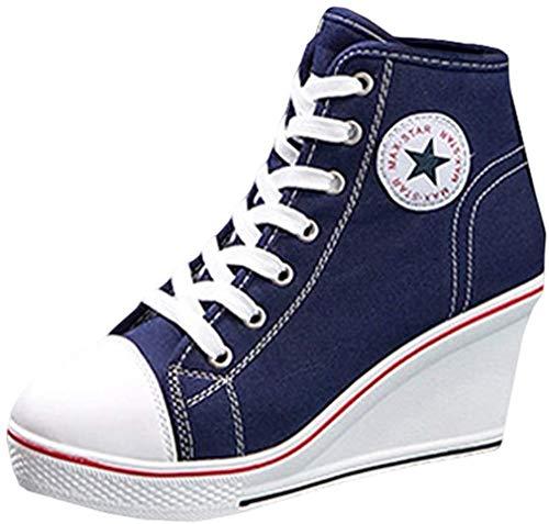 Mxssi Canvas Schuhe Damen Mädchen Atmungsaktives und Mode Keilabsatz Turnschuhe Schnürschuhe Reißverschlussschuhe Sneaker für Sport Freizeit Größe 35-43