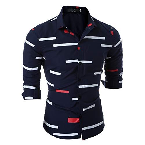 Camisa de Hombre con Personalidad de Moda Camisa de Manga Larga con Estampado geométrico Slim-fit Camisa...