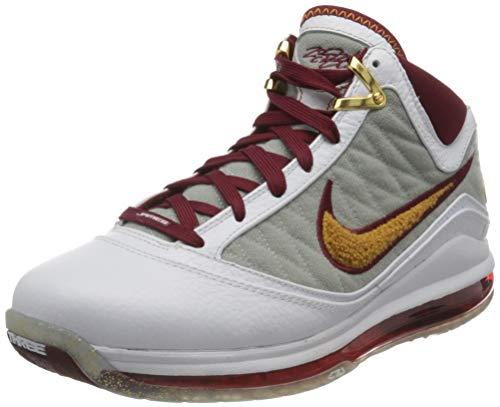 Nike Lebron VII, Zapatillas de bsquetbol Hombre, White Bronze Team Red Wolf Grey, 40 EU