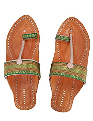 KALAPURI Ladies Kolhapuri Chappal in Genuine Leather with Black Pointed Shape Base and Traditional Green Paithani Lace Upper. Handmade in Kolhapur