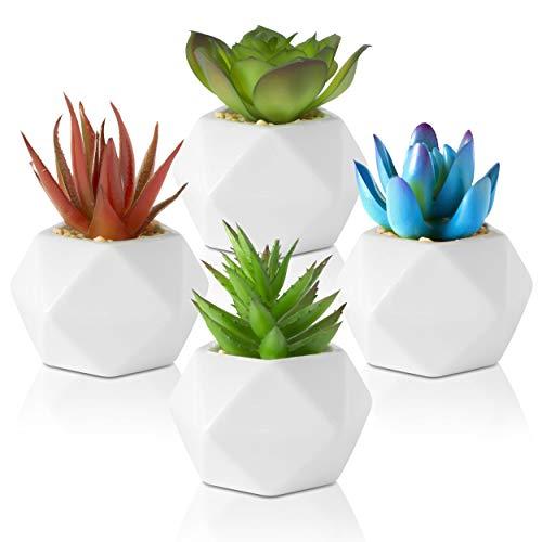 Leafy Corner Succulents Plants Artificial – Pack of 4 Fake Desk Succulents in Ceramic Pots - Mini Faux Plants for Bedroom, Kitchen and Bathroom Decor