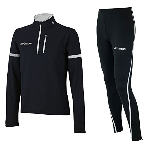 Airtracks Winter Funktions Laufset/Thermo Laufhose Lang Airtech Schwarz Silber + Thermo Shirt Langarm Schwarz - XXL
