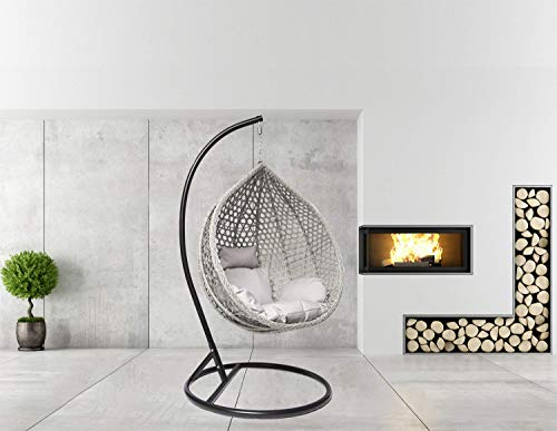 Goods Emporium Hanging Rattan Egg Swing Chair Patio Garden Cocoon Relaxing Hammock with Cushions (Large, Black - Grey - Grey)