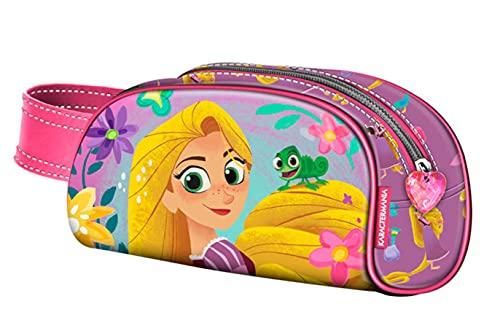 Raiponce - Estuche escolar en 3D para niña, diseño de princesa Disney (Rapunzel, 20 x 11 x 6 cm), color rosa y morado