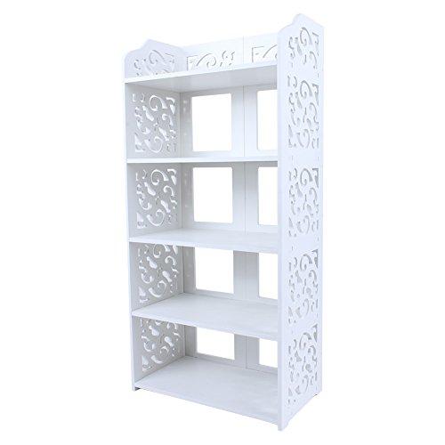 AYNEFY Zapatero de 5 niveles, moderno tallado, organizador de zapatos independiente, estante de almacenamiento, estante de exhibición para sala de estar, pasillo, entrada, blanco, 40 x 23 x 90 cm