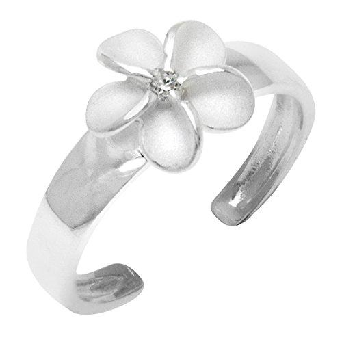 Honolulu Jewelry Company Sterling Silver Plumeria Flower CZ Toe Ring