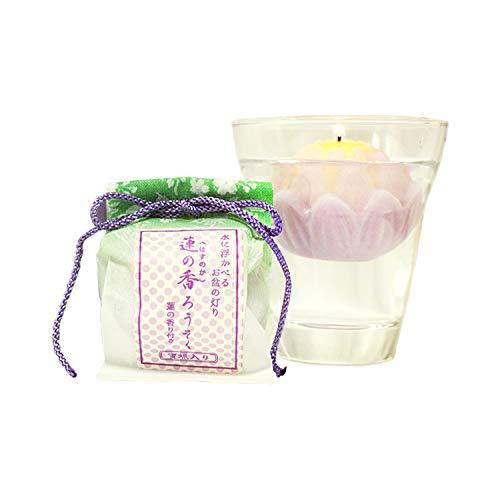 ミニ仏具蓮の香水に浮かぶろうそく蓮の花の香りグラスつき(お盆用)
