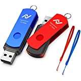 128GB USB 3.0 Flash Drive, 2 Pack 128 GB Thumb Drives with Led Light and Lanyards, High Speed 128gig Multipack Rotatable Jump Drive for Backup Storage Zip Drives Memory Stick - Blue/Red