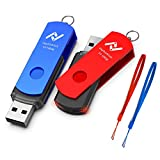 128GB USB 3.0 Flash Drive, 2 Pack 128 GB Thumb Drives with Led Light and Lanyards , High Speed 128gig Multipack Rotatable Jump Drive for Backup Storage Zip Drives Memory Stick - Blue/Red