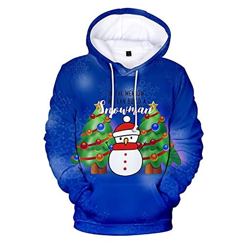 BGUK Sudadera con capucha para hombre, diseño de Navidad, divertida, unisex, manga larga, con impresión 3D, par de sudaderas cálidas, azul, XXXXL