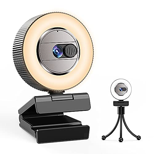 2021 CASECUBE 2K Ultra HD Webcam with Microphone and Ring Light, Webcam Cover Slide, Plug and Play...