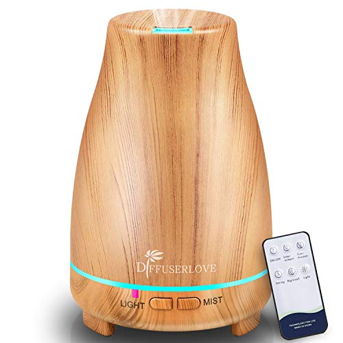Diffuserlove 200ML Essential Oil Diffuser Ultrasonic Remote Control Yellow Wood Grain Aroma Diffuser Mist Humidifiers with Waterless Auto Shut-off for Bedroom Office House