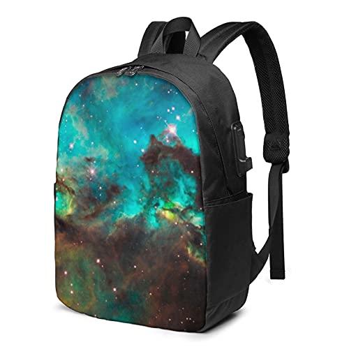 Universe Galaxy Space Nebulosa Zaino, Viaggio Laptop Zaino con Porta di Ricarica USB per Uomo e Donna 17', Come mostrato, Taglia unica,