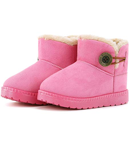 KKIDSS Girls Boys Warm Cute Button Bailey Snow Boots Comfortable Casual Winter Flat Shoes (Toddler/Little Kid) Pink 7 M US Toddler
