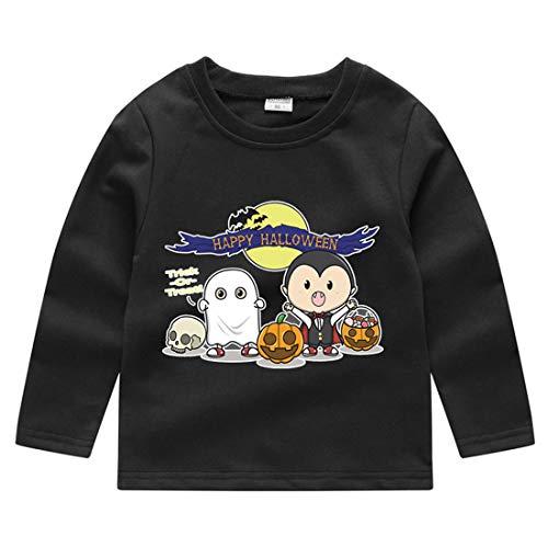 heavKin-Clothes 1-5Y Autumn Winter Kids Baby Kids Boys Girls Halloween Sweatshirt Pumpkin Print Pullover Sweater Tops T-Shirt (Black, 18-24 Months)