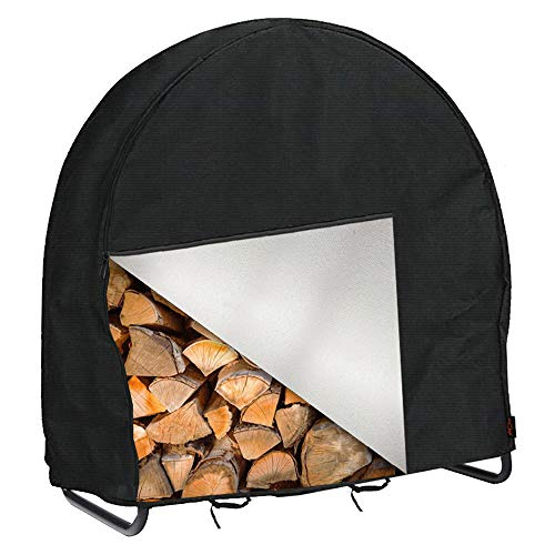 IC ICLOVER Firewood Log Hoop Cover 24 Inch Outdoor Heavy Duty 420D Oxford Waterproof and Weather Resistant Patio Log Rack CoverWood Polyester Fabric Storage Holder Cover with Zipper
