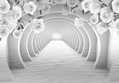 wandmotiv24 Fototapete Grau Tunnel Rosen, S 200 x 140cm - 4 Teile, Fototapeten, Wandbild, Motivtapeten, Vlies-Tapeten, Blumen, Wasser, 3D M3960