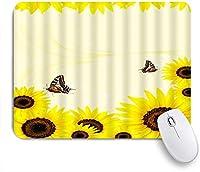 NIESIKKLAマウスパッド ひまわりの渦巻きキラキラ自然アートに止まった黄色のひまわり蝶 ゲーミング オフィス最適 高級感 おしゃれ 防水 耐久性が良い 滑り止めゴム底 ゲーミングなど適用 用ノートブックコンピュータマウスマット