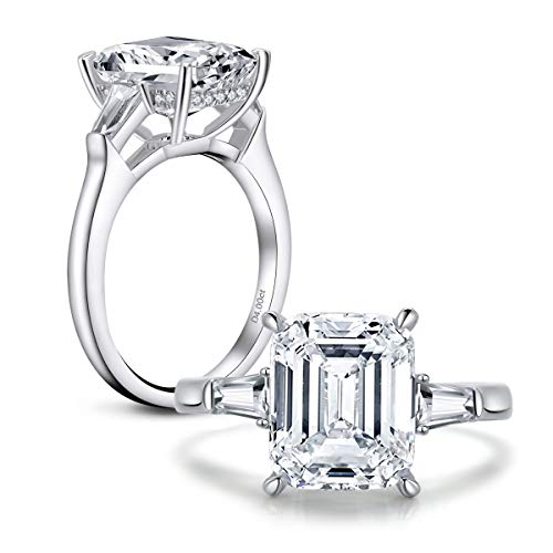 AINUOSHI 4 Carat Emerald Cut Ring Baguette 3 Stones Cubic Zirconia CZ Engagement Sterling Silver Band Jewelry(6)