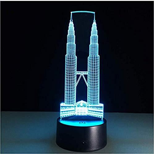 Twin Tower Gebäude 3D-LED-Lampe Berührungssensor Nachtlicht 7 Farbwechsel Lampe Luminaria für Kinderbett Raum Stimmung Beleuchtung