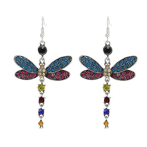 Pendientes de libélula de la Vendimia, un par de aretes de libélula de la tasela - Pendientes Colgantes para Las Mujeres Pendientes de libélula para Coloridos Pernos de Animales Pendiente de joyería