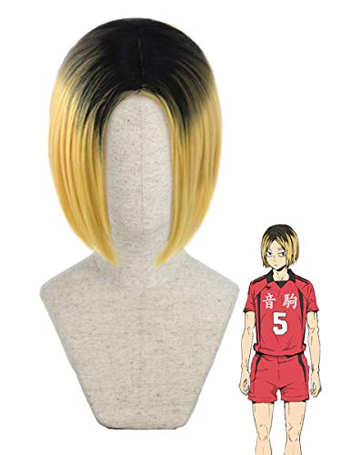 Juziviee Blonde Wigs for Kozume Kenma Cosplay Haikyuu Costume Ombre Short Blonde Hair Wig Anime Harajuku Lolita Cute Synthetic Wigs for Party AD019M